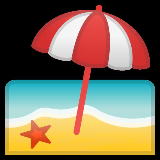 Beach, With, Umbrella Icon Free Of Noto Emoji Travel Places Icons