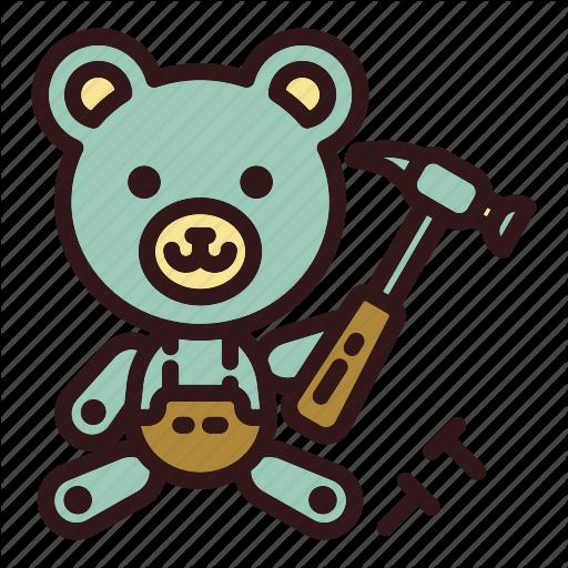 Bear, Builder, Building, Claw Hammer, Hammer, Teddy, Toy Icon