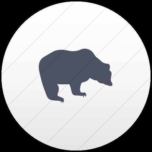 Flat Circle Blue Gray On White Gradient Animals Bear Icon