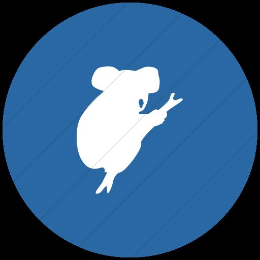 Flat Circle White On Blue Animals Koala Bear Icon