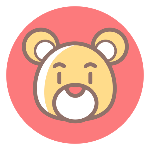 Teddy Bear Head Circle Icon