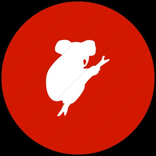 Flat Circle White On Red Animals Koala Bear Icon