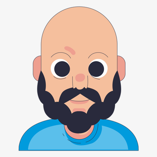 Bald Bearded Man, Man Clipart, Bald, Moustache Png Image