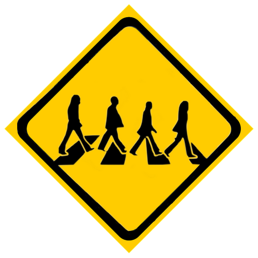 A Road Sign Telling Drivers About People Crossing The Road Rock