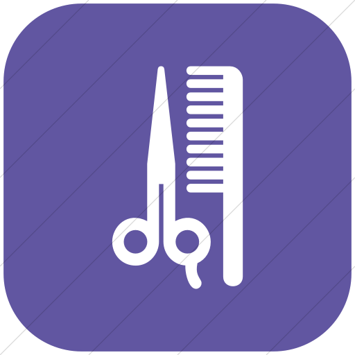 Flat Rounded Square White On Purple Aiga Barber Shop