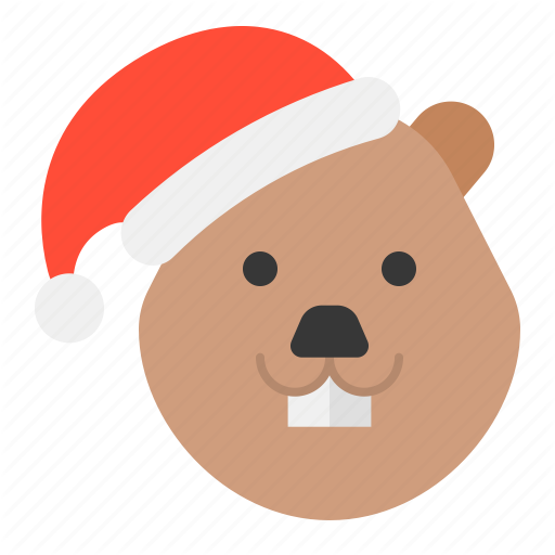Animal, Beaver, Christmas, Hat, Xmas, Zoo Icon