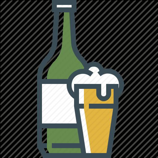 Beer Bottle, Beer Foam, Beer Glass, Outline Icon