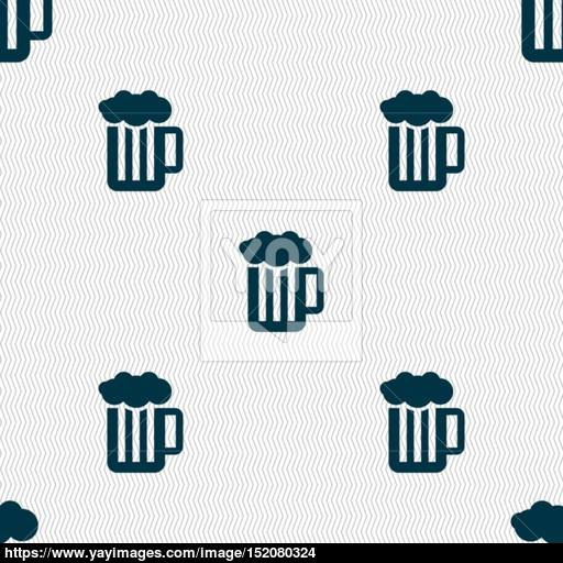 Glass Of Beer With Foam Icon Sign Seamless Pattern With Geometric
