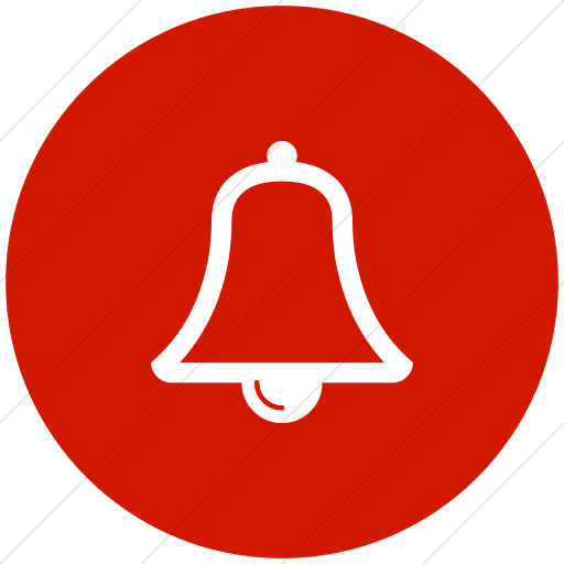 Flat Circle White On Red Bootstrap Font Awesome Bell O Icon