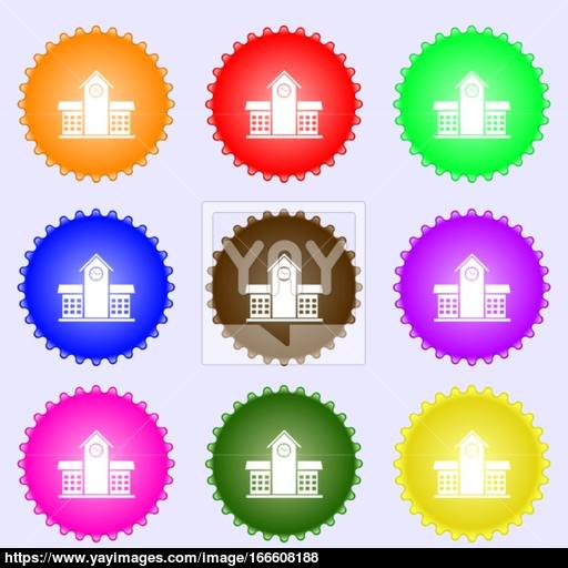 School Professional Icon Sign Big Set Of Colorful, Diverse, High