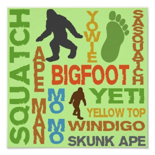Names For Bigfoot Poster Sasquatch And Other