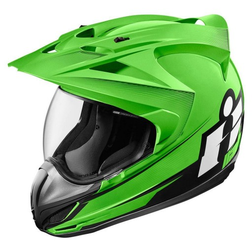 Icon Variant Double Stack Motorcycle Helmet Green Quad Bikes Wales