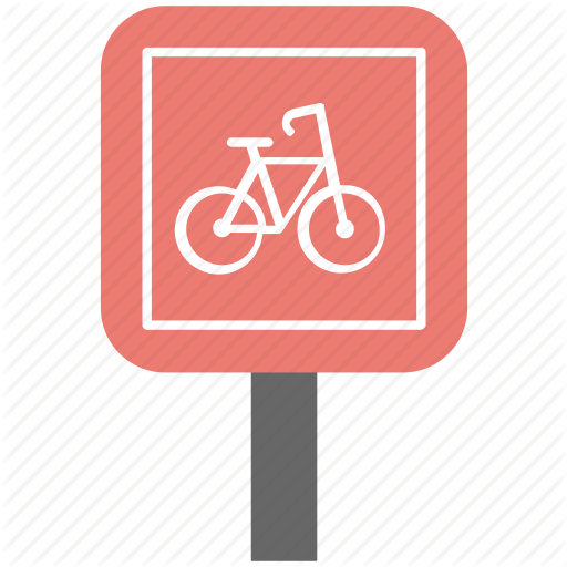 Bike Route, Cycle Lane, Cycle Path, Road Information, Road Sign Icon