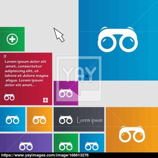 Binoculars Icon Sign Buttons Modern Interface Website Buttons