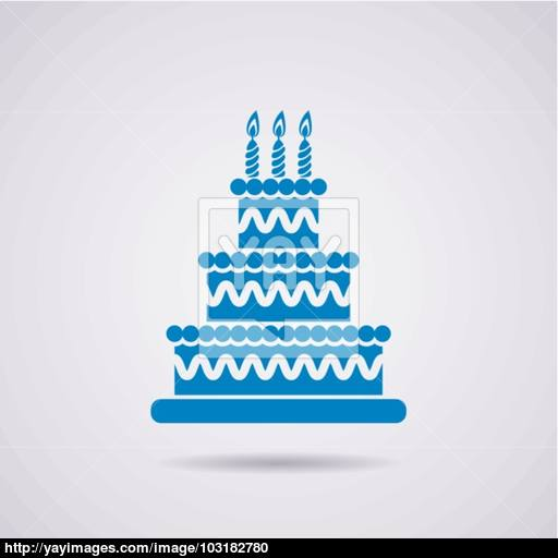 Vector Big Birthday Cake Icon Vector