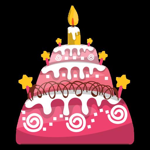 Pink Birthday Cake Illustration