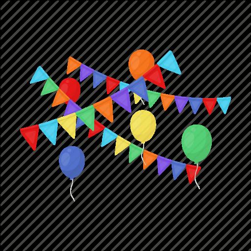 Birthday, Celebration, Decoration, Flag, Holiday, Party Icon