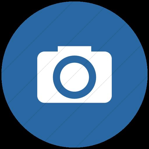 Flat Circle White On Blue Raphael Camera Icon