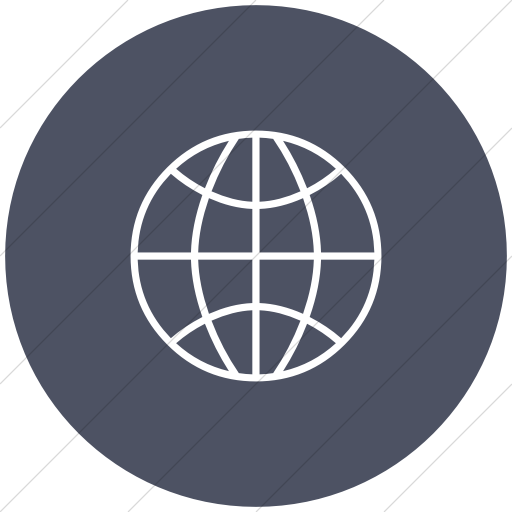 Flat Circle White On Blue Gray Classica Globe Icon