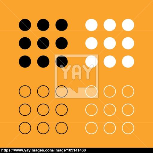 Dial Button Set Black And White Icon Vector