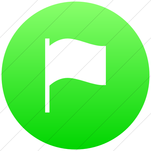 Flat Circle White On Ios Neon Green Gradient Classica