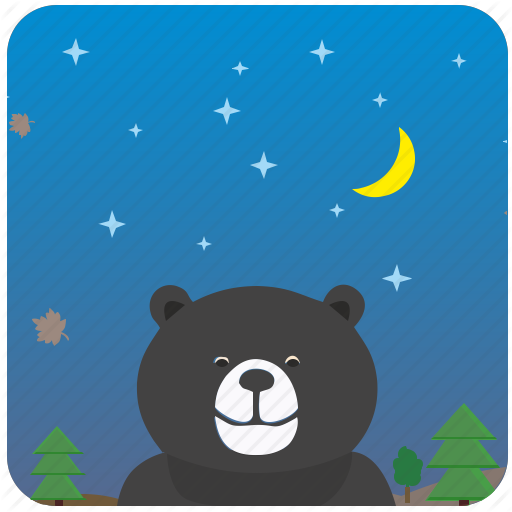 Bear, Clouds, Danger, Forest, Night, Sky Icon