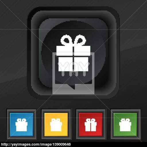 Gift Box Icon Symbol Set Of Five Colorful, Stylish Buttons