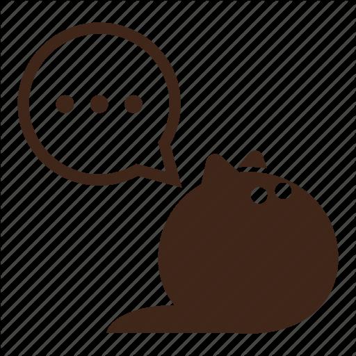 Black Cat, Bubble, Cartoon, Cat, Fluffy, Pet, Thinking Icon