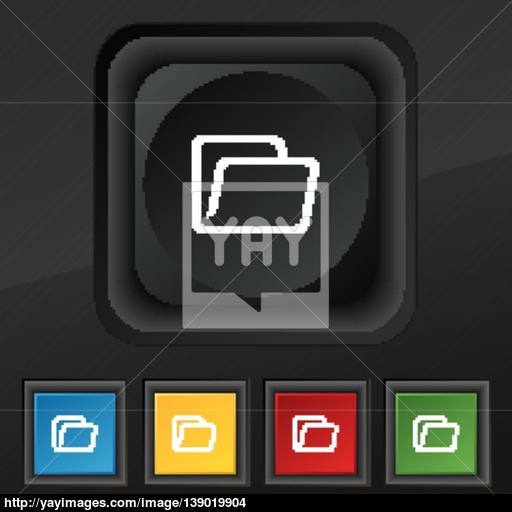 Folder Icon Symbol Set Of Five Colorful, Stylish Buttons On Black