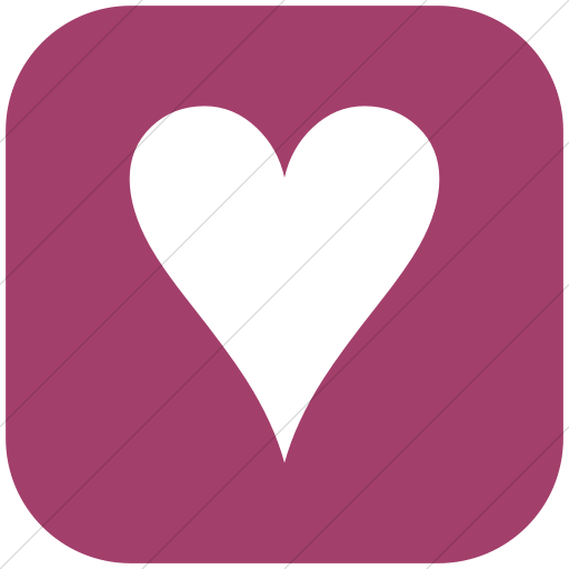 Flat Rounded Square White On Pink Classica Black Heart