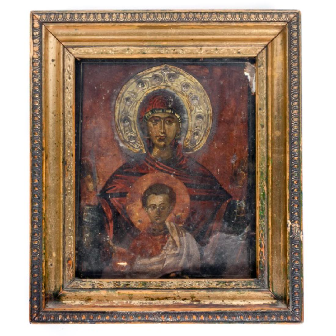 C Gilt Russian Orthodox Icon, Theotokos
