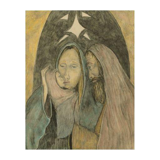 Jesus Mary Joseph Nativity Religious Christmas Wood Print