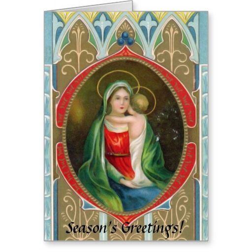 Madonna Mary And Child Vintage Religious Christmas Greeting Card