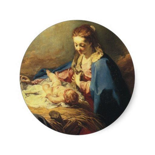 Victorian Madonna And Child Christmas Sticker