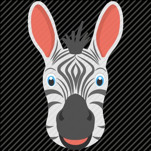 Animal Face, Black White Stripes, Long Ears, Mammals, Zebra Face Icon
