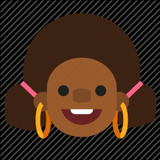 Black, Earrings, Face, Happy, Head, Lady, Woman Icon