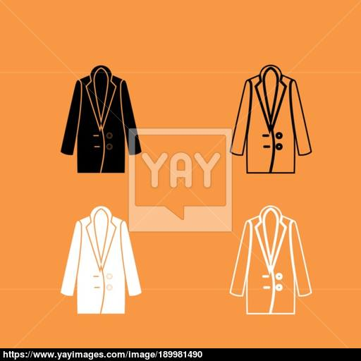 Woman Overcoat Black And White Set Icon Vector