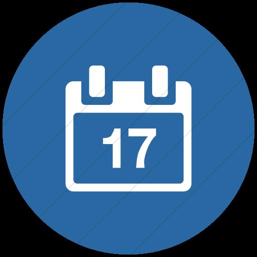 Flat Circle White On Blue Broccolidry Calendar Icon