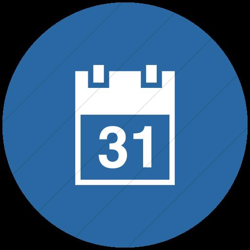 Flat Circle White On Blue Raphael Calendar Icon