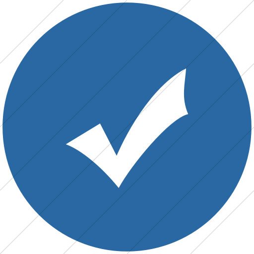 Flat Circle White On Blue Classica Check Mark Icon