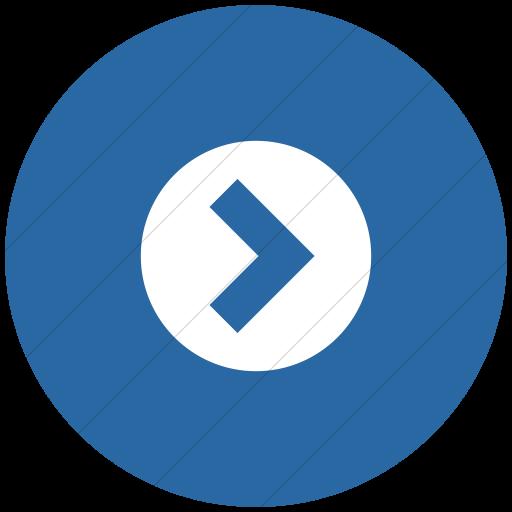 Flat Circle White On Blue Raphael Arrow Right Circle Icon