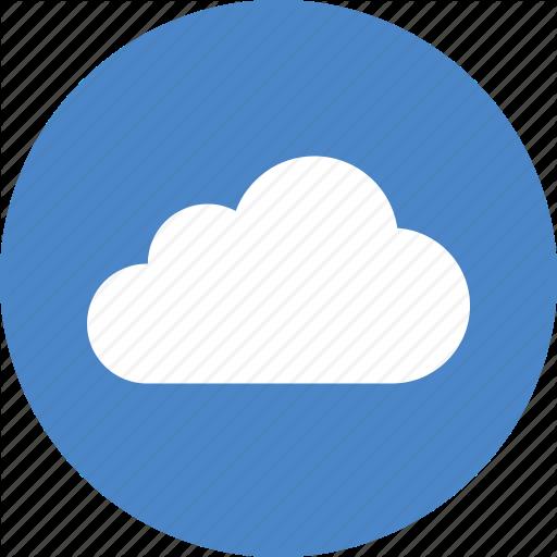 Blue, Circle, Cloud, Computing, Hosting, Services, Storage Icon