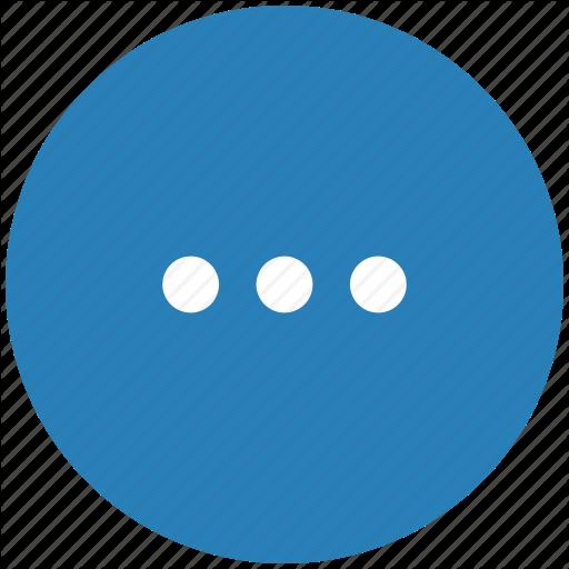 Blue, Dots, Menu, More, Round Icon