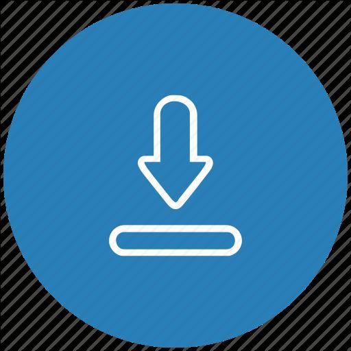 Blue, Download, File, Round, Transfer Icon