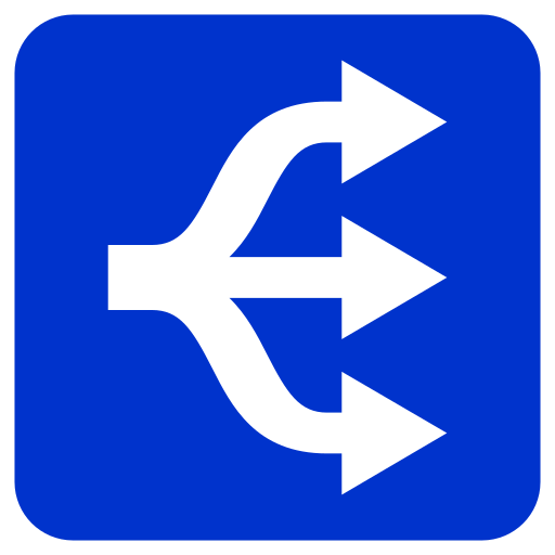 Three Disambiguation Arrows Icon In Rounded Blue Square