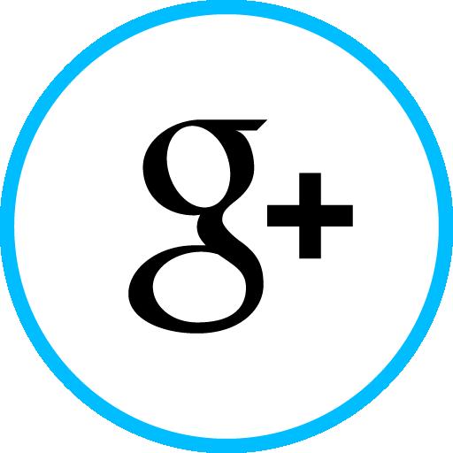 Google Plus Free Social Media Blue Round Outline Icon Design