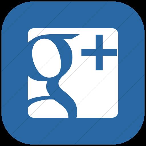 Flat Rounded Square White On Blue Raphael Google Plus Icon
