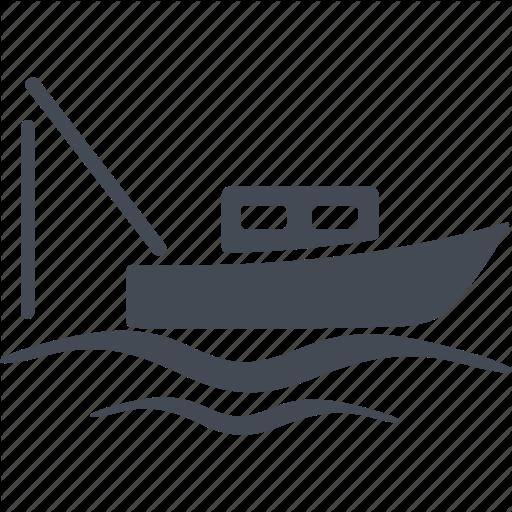 Boat, Fishing, Fishing Rod, Sea Icon