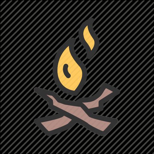 Beach, Bonfire, C Campfire, Fire, Night, Wood Icon