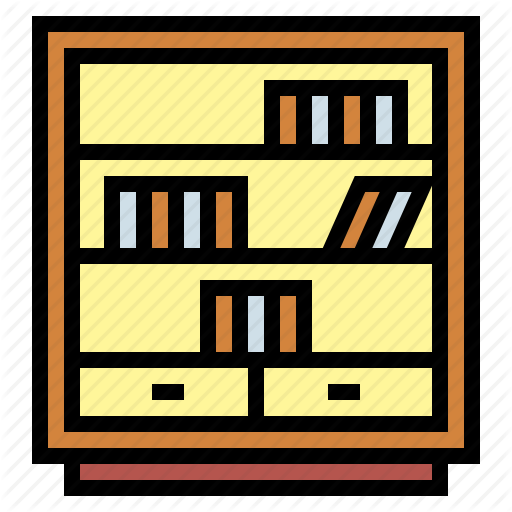 Bookcase, Bookshelf, Furniture, Library Icon